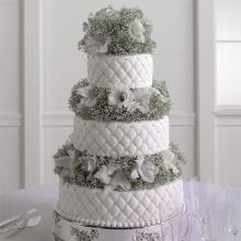 Quilted Fondant Cake with Baby\'s Breath and Gladiolus