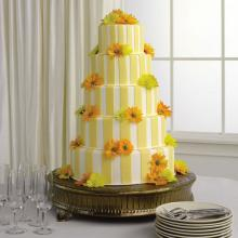 Striped Fondant Cake with Daisy Pompons