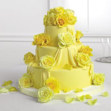 Draped Yellow Fondant Cake with Roses